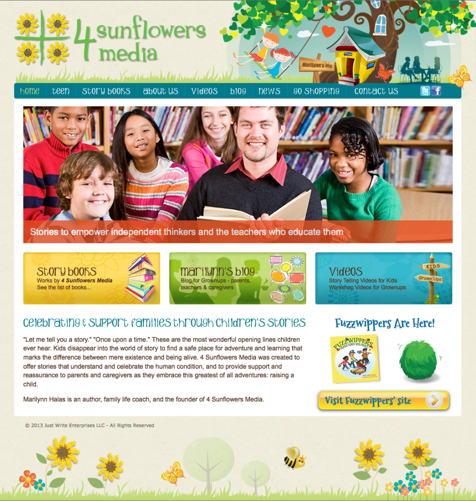 web design development for 4 Sunflowers Media